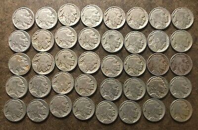 Roll (40 coins) 1927 Buffalo/Indian Head Nickels - No Reserve
