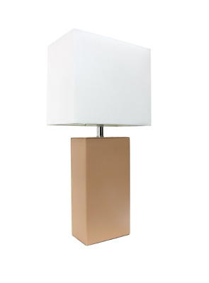 Elegant Designs LT1025-TAN Modern Leather Table Lamp with White Fabric Shade, Ta