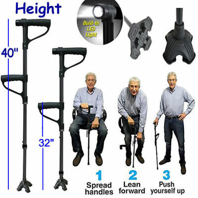 Mobility Walking Stick with light   Folding Height Adjustable   Free Standing