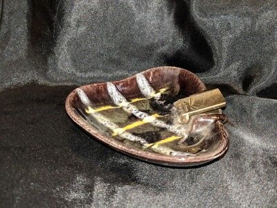 Vintage Germany Art Pottery Ashtray deco Germany retro 208 brass edge