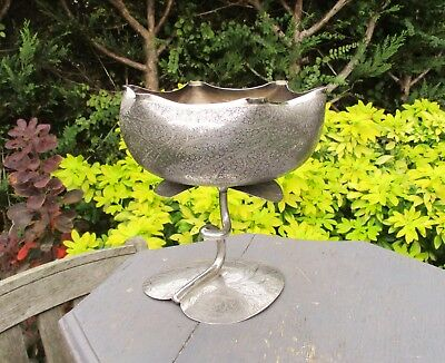 Antique/Vintage Asian Silver Plated Lotus/Water Lily Comport/Tazza/Pedestal Bowl