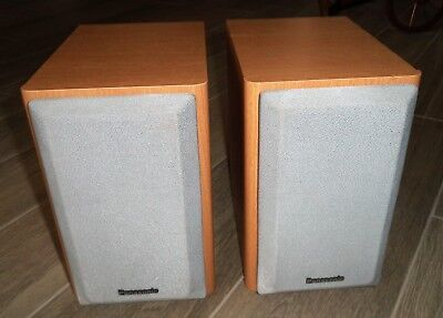 Vintage Panasonic Bookshelf Speakers Model SB PM03 Oak Color Home Stereo Speaker