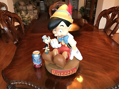 Big Resin Pinocchio & Jiminy Cricket Disney Statue - Rare & Mint