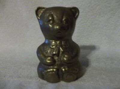 Vintage Gold Colored Metal Bear Bank