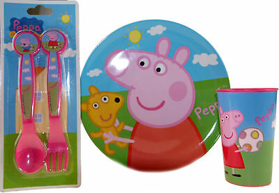 Peppa Pig 3 Piece Meal Set Plate, Spoon and Fork and Cup