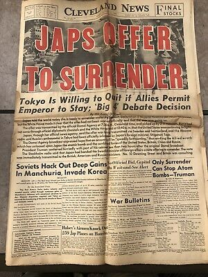 Historical Newspaper. August 10,1945 JAPS OFFER TO SURRENDER