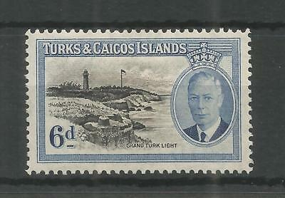 TURKS & CAICOS ISLANDS 1950 GEORGE 6TH 6d BLACK & BLUE SG,228 M/MINT LOT 239B