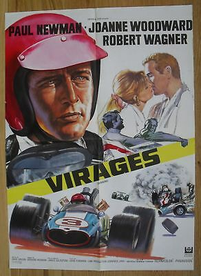 WINNING Paul Newman Joanne Woodward F1 car original french movie poster '69