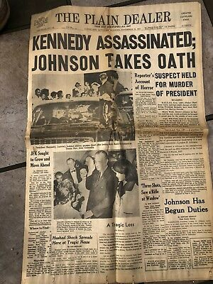 Historical Newspaper Nov 23,1963 CLE PLAIN DEALER.   KENNEDY ASSASSINATED