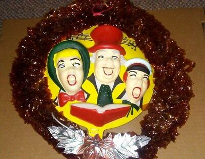 Beautiful Vintage Carolers Christmas Wreath Cellophane Center Made Celluloid