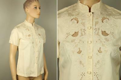 Vtg Peony Antique White Ivory Hand Embroidered Lace Silk Shirt Top Blouse 34