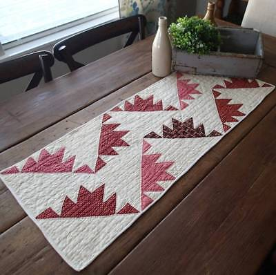 EARLY 1860 Antique Turkey Red Delectable Mountains Table Quilt RUNNER 35x14
