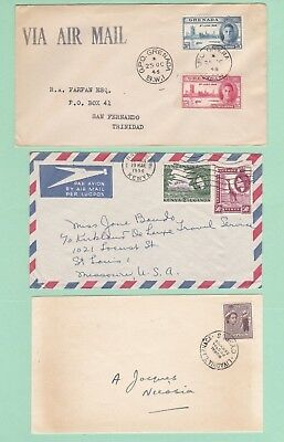 BRITISH COLONIES 3 older covers, some FDC, Cyprus, Grenada, KUT from about 1950