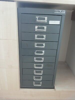 Bisley - 10 Multi Drawer Filing Cabinet - Steel - Vintage
