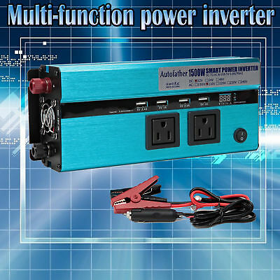 Digital Display 1500W(Peak 3000W) USB Converter DC 12V To AC 110V POWER INVERTER