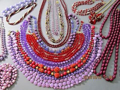 Vintage Lot Of Beaded Necklaces 20 all Purple and Red Beads, Nice Lot