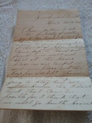 Civil War Letter  April 19Th 1864 Mention Camped,moving South,grief