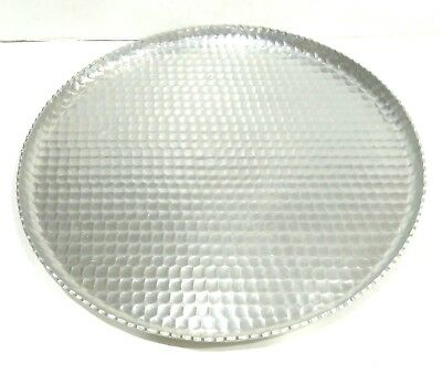 Vintage Aarfors Canada Hand Wrought Round Heavy Aluminum Honeycomb Platter Tray