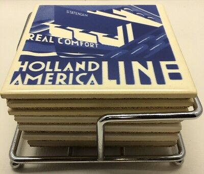 "Holland America Line Coasters,Ceramic,Set of 7. With Holder 4"" X 4"""