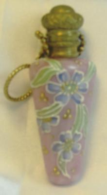 Colorful Antique Victorian Hand Painted Cranberry Glass Perfume Scent Bottle