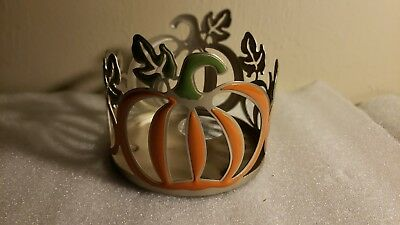 Bath And Body Works Metal Pumpkin 3- Wick Candle Holder