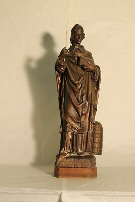 1800ths rare statue wood carved  SAINT AMBROSE beekeeper bee