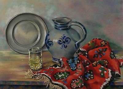 Hans Hemmeter 1879 - 1953 - Still Life with Glass Tin Plate Ceiling and Krug