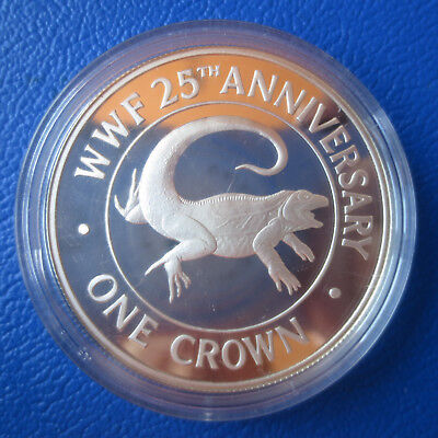 Turks and Caicos Islands 1 Crown 1988 -25 Jahre WWF-Leguan- Silber in PP(514)