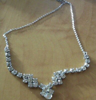 Beautiful Rare Vintage Collectable 1950S/60S Clear Crystal Bib Necklace