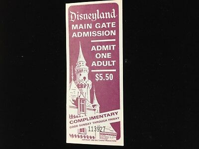 Vintage 1966 Disney Main Gate Adult Admission $5.50 Ticket Perfect Condition