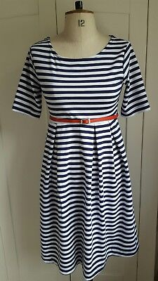Maternity Dress, Navy and White Stripe in Size 10, Mamas and Papas
