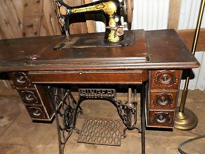 Vintage Singer Treadle Sewing Machine Model 27 in Incredibly Beautiful Cabinet