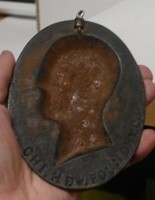 Cast Iron with bronze Abraham Lincoln Wall plaque cast by Chicago HDW Foundry