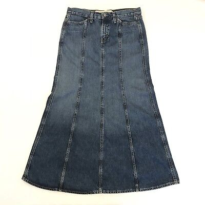 Gap Jeans Long Denim Max Skirt 6R Fit and Flare Pockets Modest Midi Blue Jean