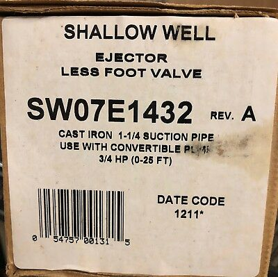 Shallow Well Ejector Less Foot Valve SW07E1432 Rev. A