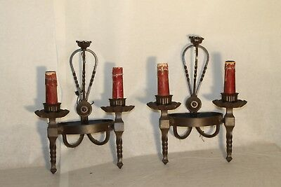 antique pair, Wrought iron French EMPIRE country CASTLE Wall Sconces A3