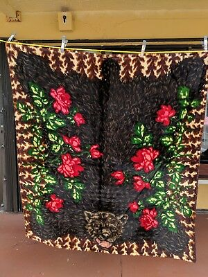 Antique Victorian Chase Sleigh Blanket Buggy Blanket Mohair Red Flower Bear Head