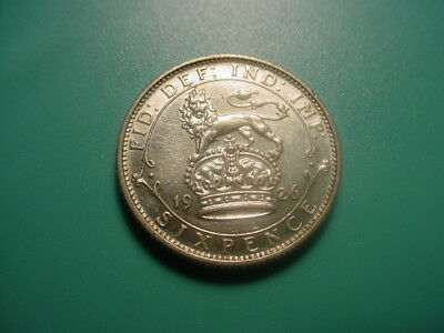 British - Silver - 1926 Sixpence In Excellent Condition