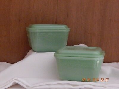 (2) Vintage FIRE KING PHILBE JADEITE SMALL REFRIGERATOR DISH  with Matching Lid