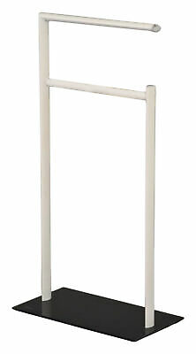 Kings Brand White Metal With Black Glass 2 Bar Free Standing Towel Rack Stand