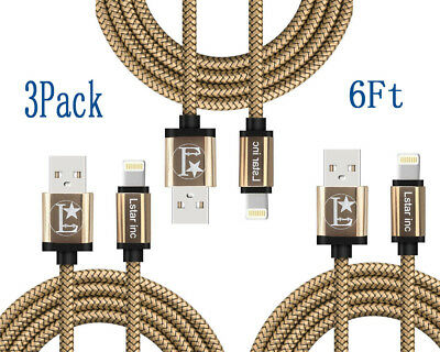 3-Pack 6 Ft Lightning Cable Heavy Duty iPhone 6 S 7 8 plus Charger Charging Cord