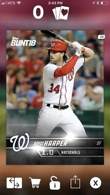 Topps Bunt Digital Card - Bryce Harper - 2018 White Series 1 - Lot Of 25