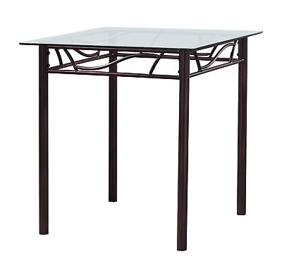 Kings Brand Bronze Metal / Tempered Glass Top Square Kitchen Dinette Table
