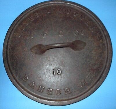 "Vintage Maine Cast Iron Noyes & Nutter Mfg Co Bangor Maine # 10 Pot "" Lid Only """