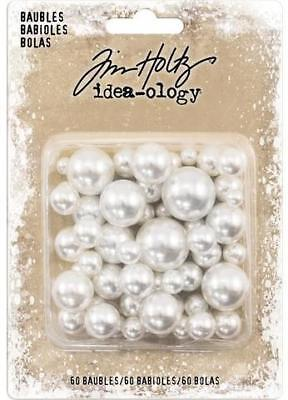 Idea-Ology Tim Holtz ~ PEARL BAUBLES ~ Undrilled Cream Pearls