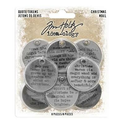Tim Holtz Idea-Ology ~ METAL QUOTE TOKENS ~ Christmas TH93751 ~ 8 in packet