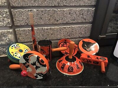Lot Of 8 Antique Vintage Tin Litho Halloween Party Toy Noise Makers Ex Nr
