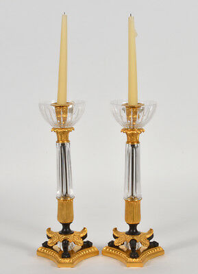 Pair of Baldi Italy Bronze & Crystal Empire Candlesticks. 20th Century