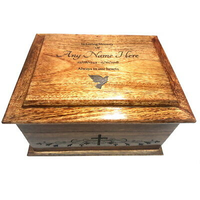 Funeral Cremation Urn For Human Ashes Wooden Traditional Lasered Cremation Box