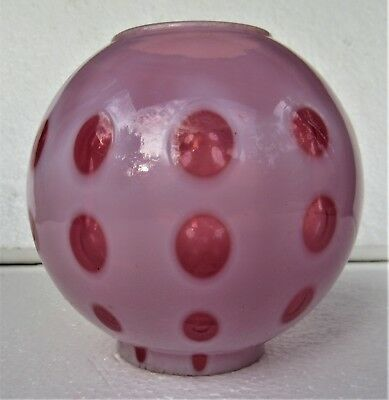 Cranberry Coin Spot Dot Glass Miniature Oil Lamp Gone with the Wind Ball Shade